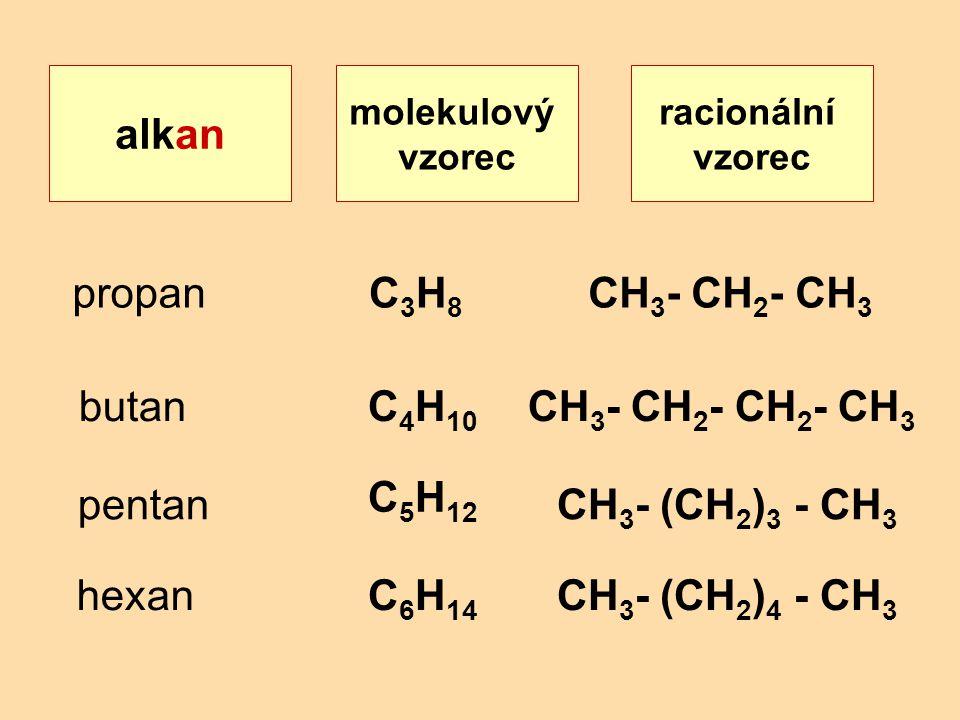 alkan propan C3H8 CH3- CH2- CH3 butan C4H10 C5H12 C6H14