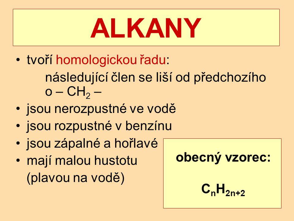 ALKANY tvoří homologickou řadu:
