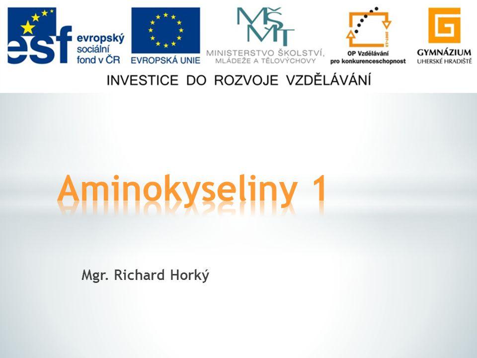 Aminokyseliny 1 Mgr. Richard Horký