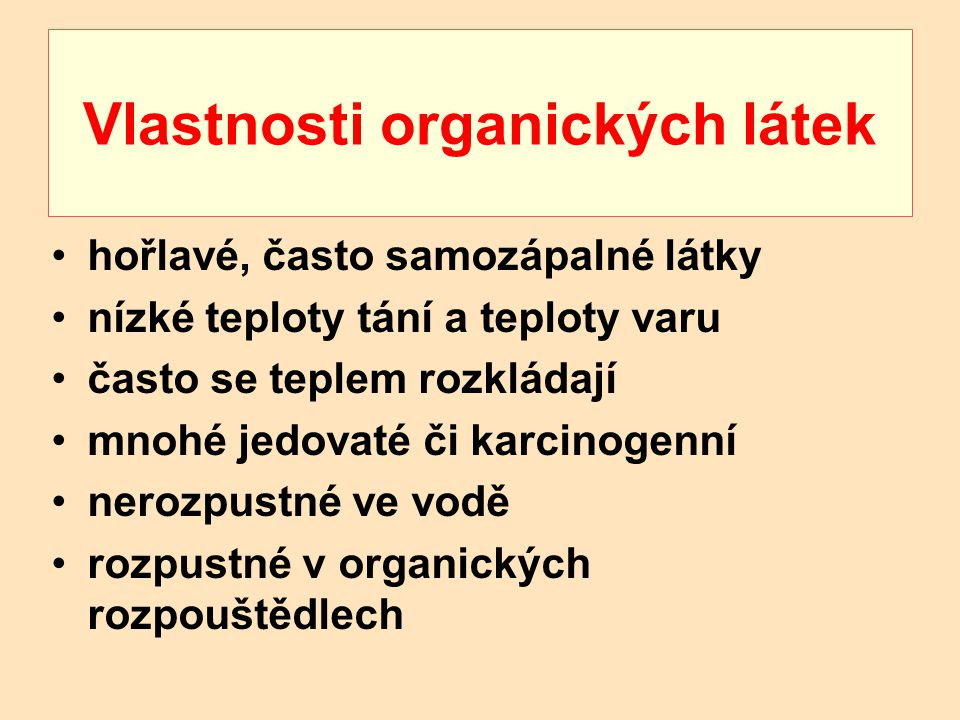 Vlastnosti organických látek