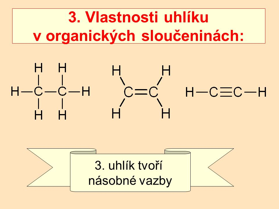 3. Vlastnosti uhlíku v organických sloučeninách: