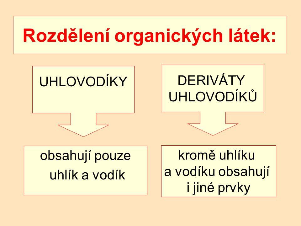 Rozdělení organických látek: