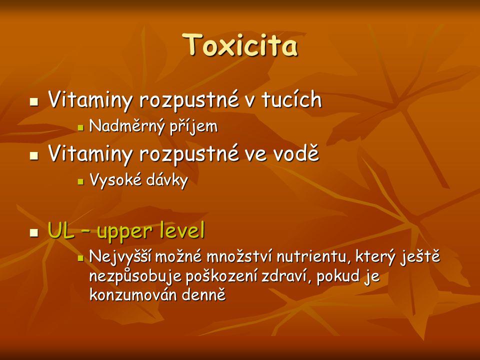Toxicita Vitaminy rozpustné v tucích Vitaminy rozpustné ve vodě