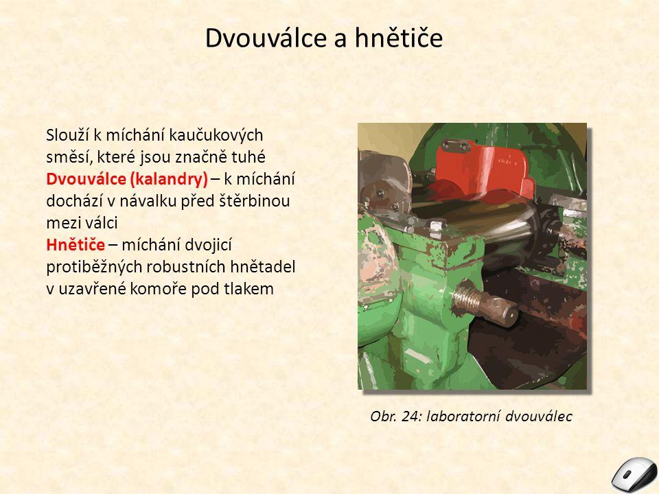 Dvouválce a hnětiče Slouží k míchání kaučukových směsí, které jsou značně tuhé.