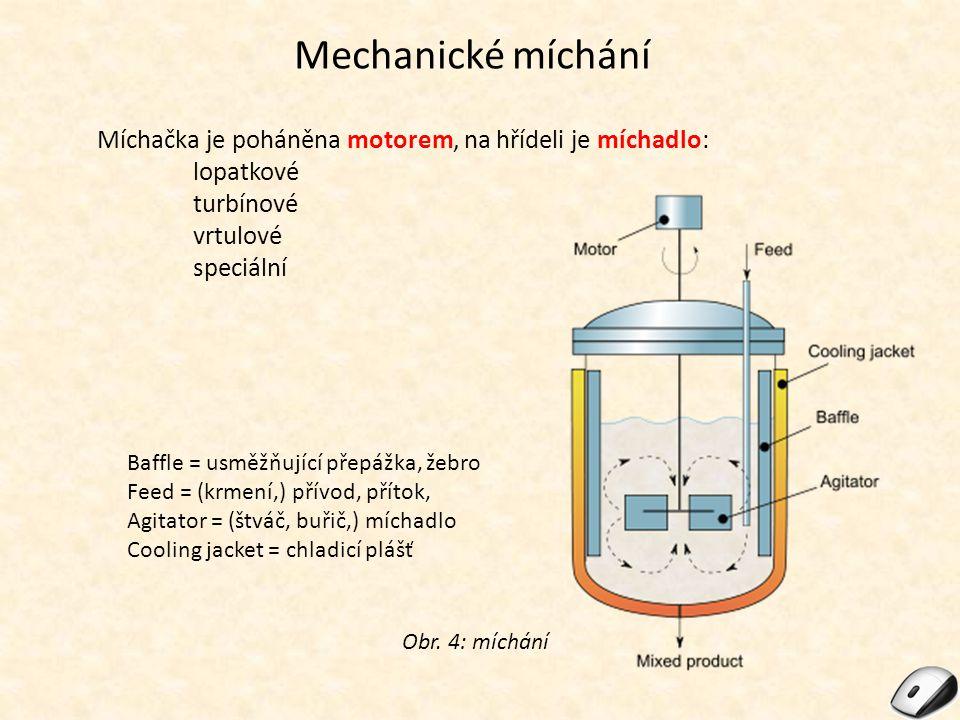 Mechanické míchání Míchačka je poháněna motorem, na hřídeli je míchadlo: lopatkové. turbínové. vrtulové.