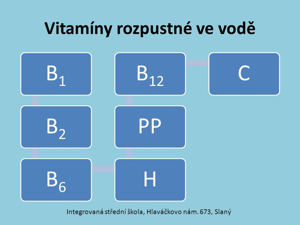 Vitamíny rozpustné ve vodě