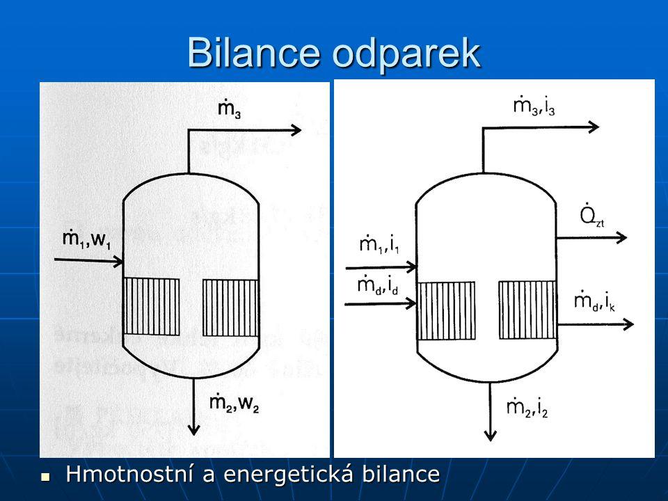 Bilance odparek Hmotnostní a energetická bilance