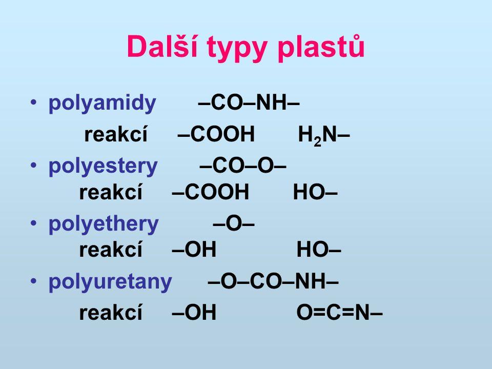 Další typy plastů polyamidy –CO–NH– reakcí –COOH H2N–