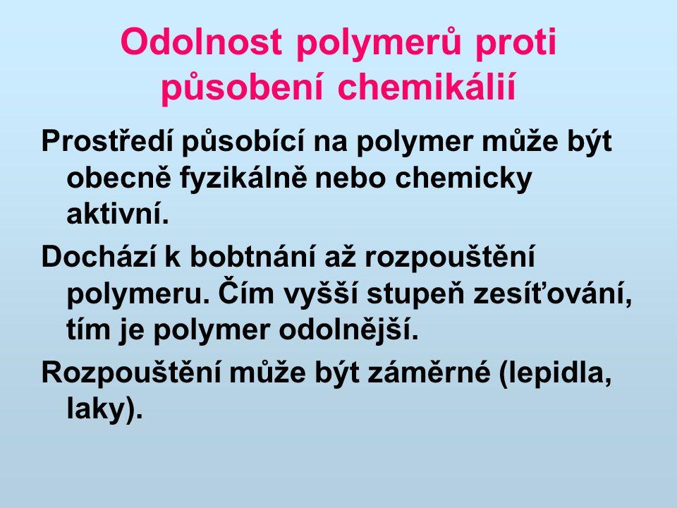 Odolnost polymerů proti působení chemikálií