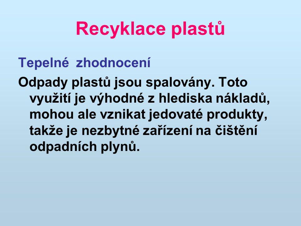 Recyklace plastů Tepelné zhodnocení