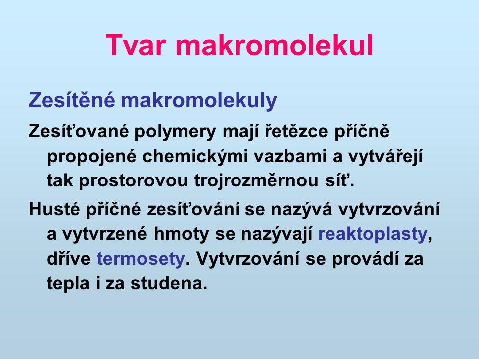 Tvar makromolekul Zesítěné makromolekuly