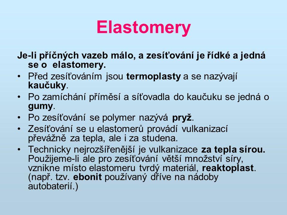 Elastomery Je-li příčných vazeb málo, a zesíťování je řídké a jedná se o elastomery. Před zesíťováním jsou termoplasty a se nazývají kaučuky.