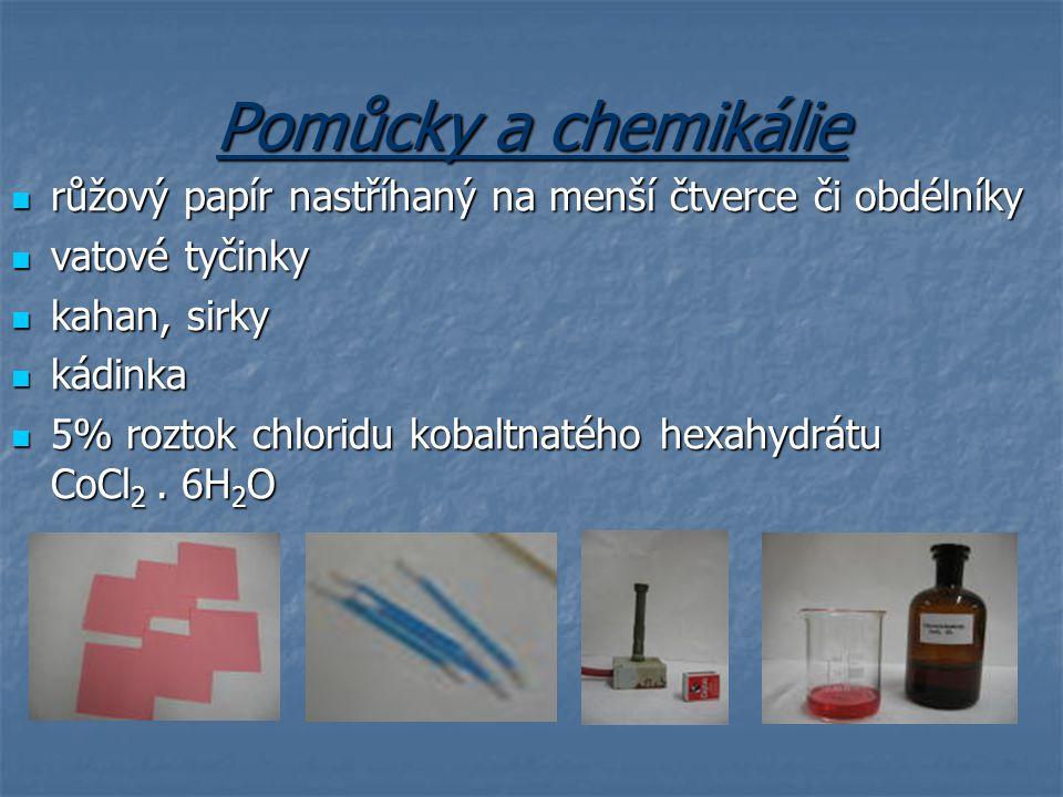 Pomůcky a chemikálie růžový papír nastříhaný na menší čtverce či obdélníky. vatové tyčinky. kahan, sirky.