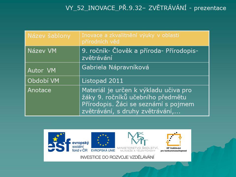 VY_52_INOVACE_PŘ.9.32– ZVĚTRÁVÁNÍ - prezentace