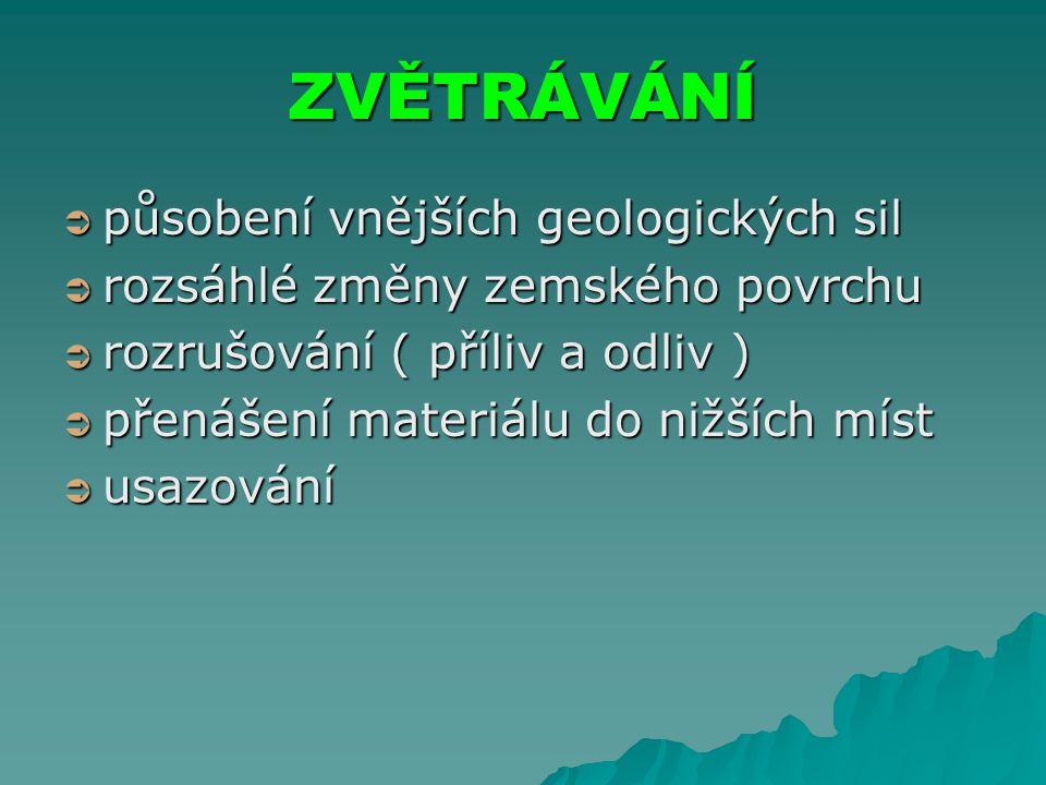 ZVĚTRÁVÁNÍ působení vnějších geologických sil