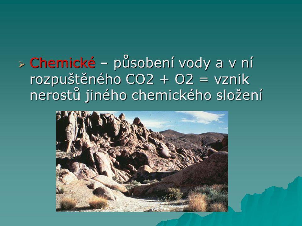 Chemické – působení vody a v ní rozpuštěného CO2 + O2 = vznik nerostů jiného chemického složení
