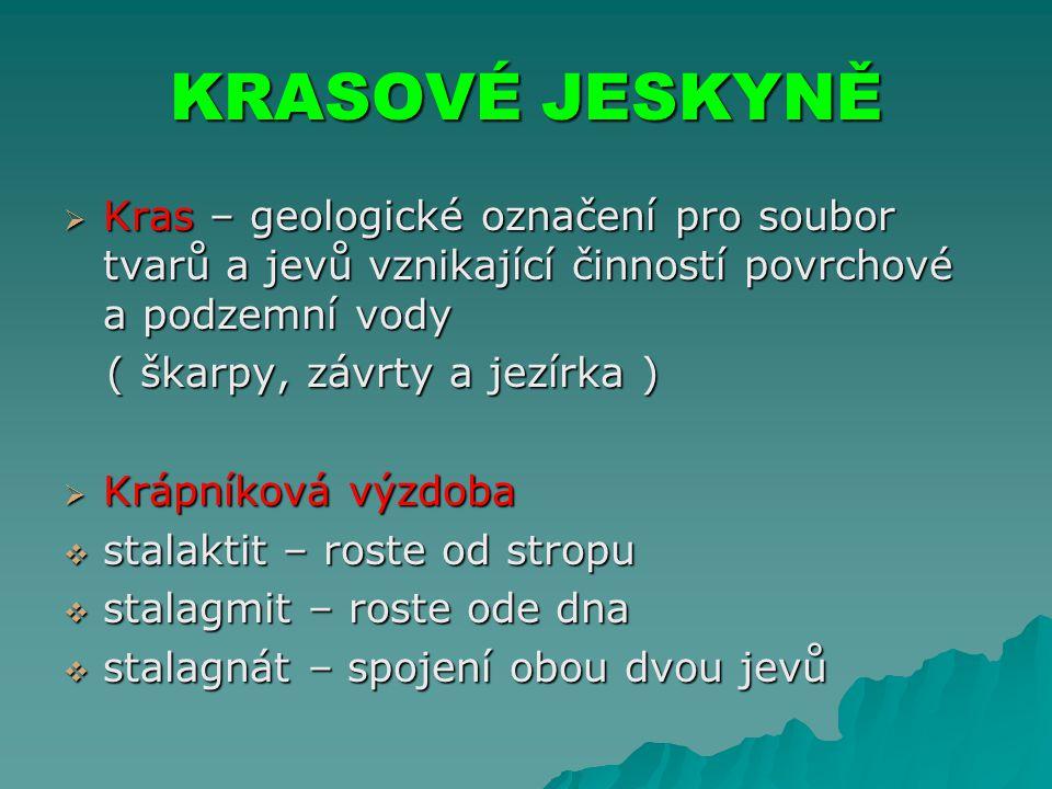 KRASOVÉ JESKYNĚ Kras – geologické označení pro soubor tvarů a jevů vznikající činností povrchové a podzemní vody.