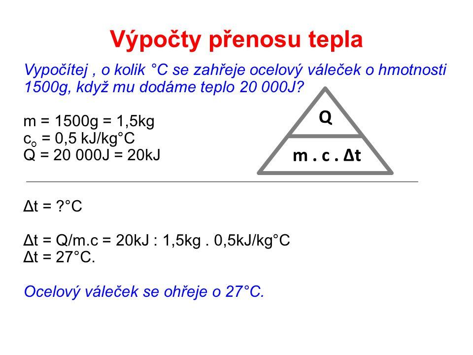 Výpočty přenosu tepla Q m . c . Δt