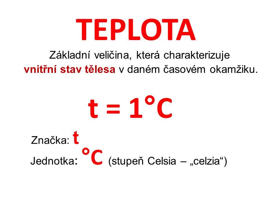 TEPLOTA t = 1°C Základní veličina, která charakterizuje