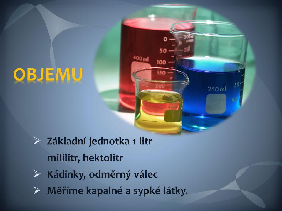 OBJEMU Základní jednotka 1 litr mililitr, hektolitr