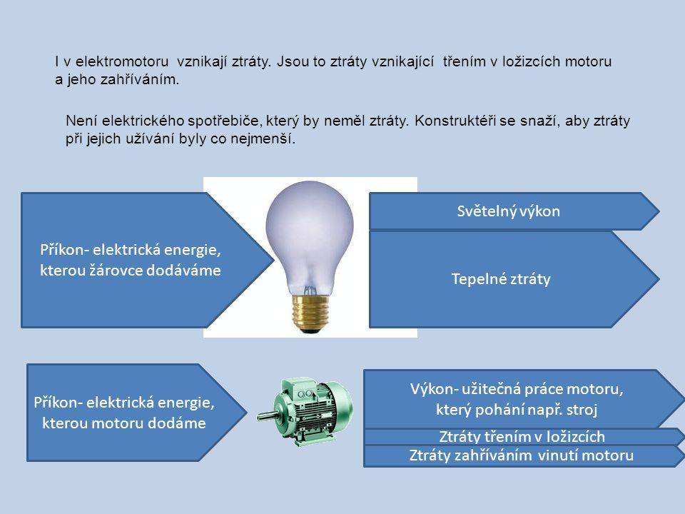Příkon- elektrická energie, kterou žárovce dodáváme Světelný výkon