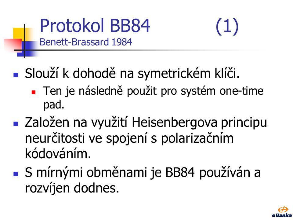 Protokol BB84 (1) Benett-Brassard 1984