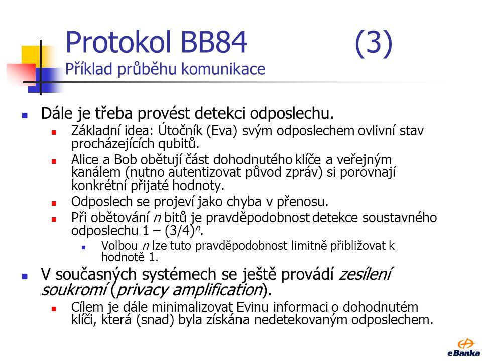 Protokol BB84 (3) Příklad průběhu komunikace