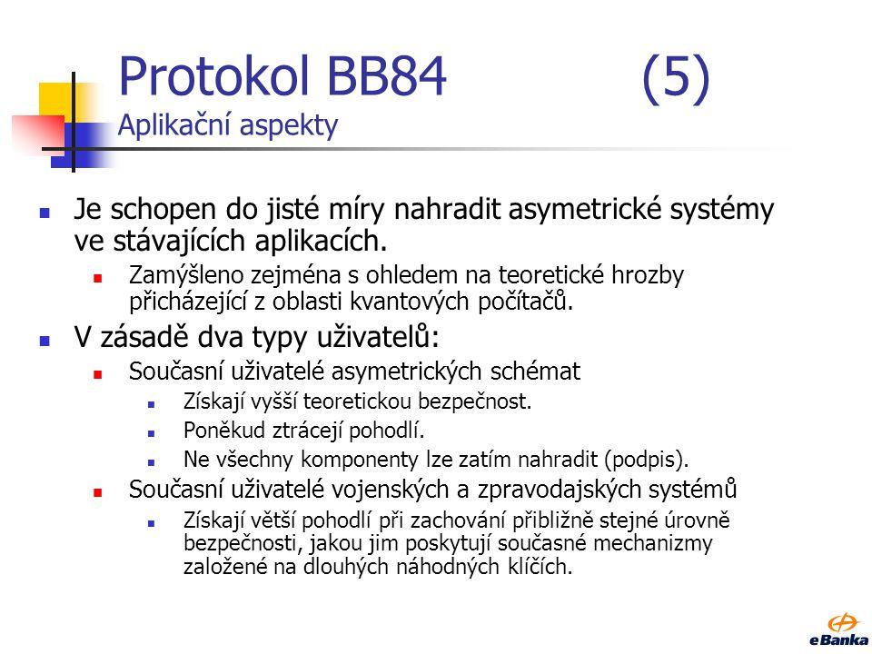 Protokol BB84 (5) Aplikační aspekty