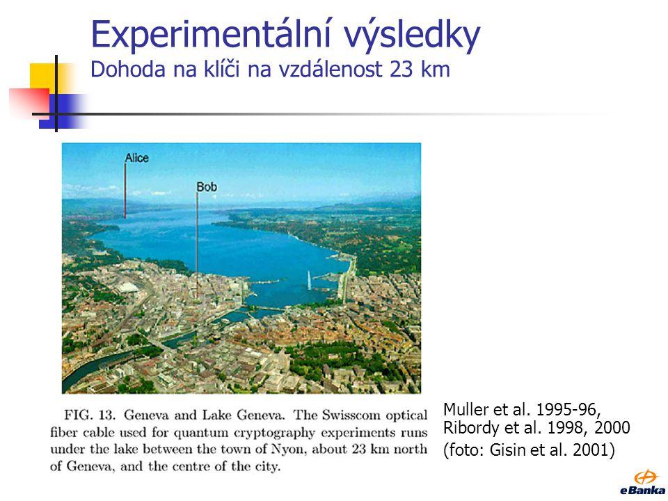 Experimentální výsledky Dohoda na klíči na vzdálenost 23 km