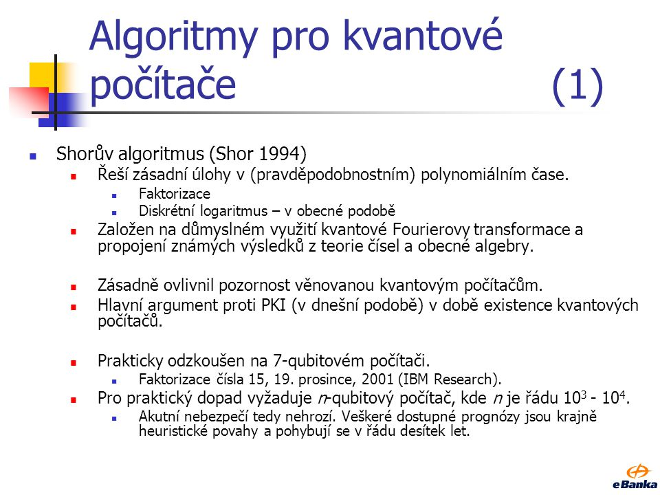 Algoritmy pro kvantové počítače (1)