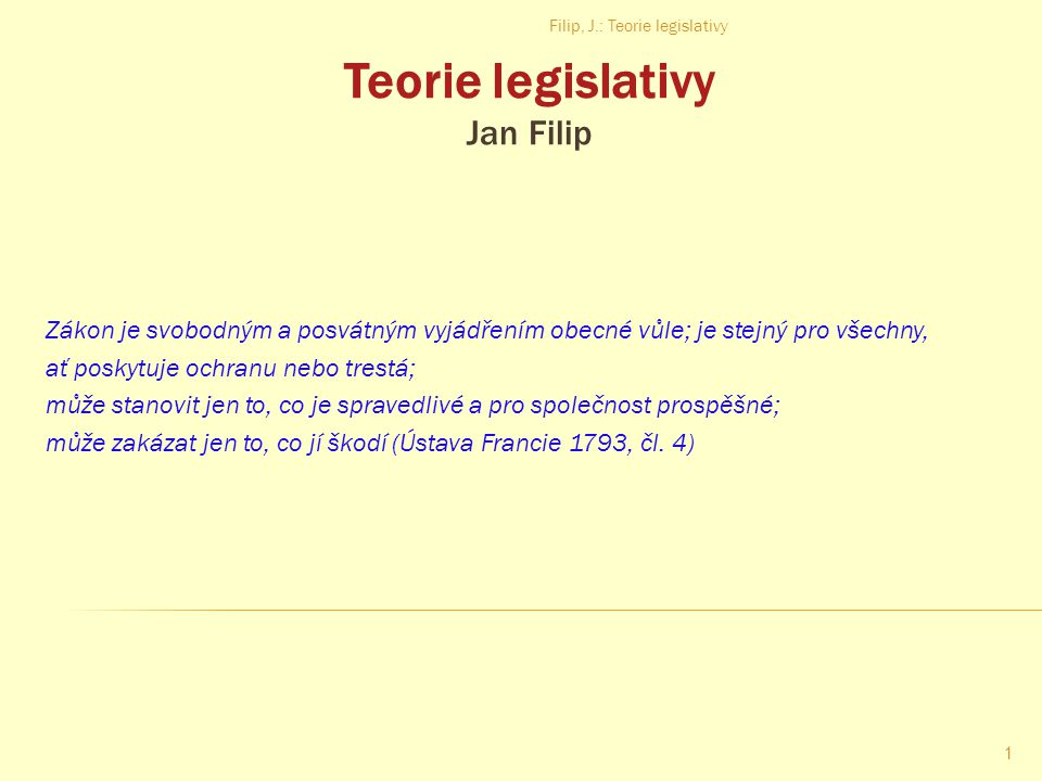 Teorie legislativy Jan Filip