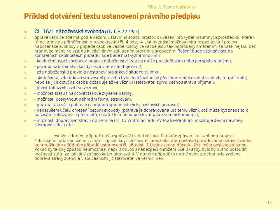 Příklad dotváření textu ustanovení právního předpisu