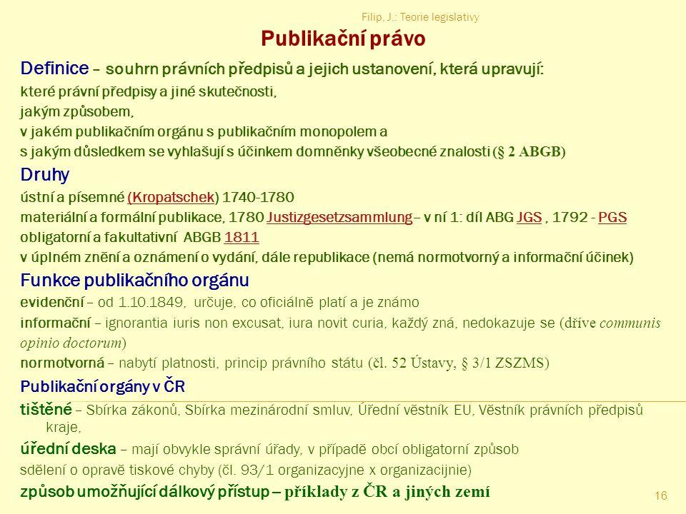 Publikační právo Filip, J.: Teorie legislativy. Definice – souhrn právních předpisů a jejich ustanovení, která upravují: