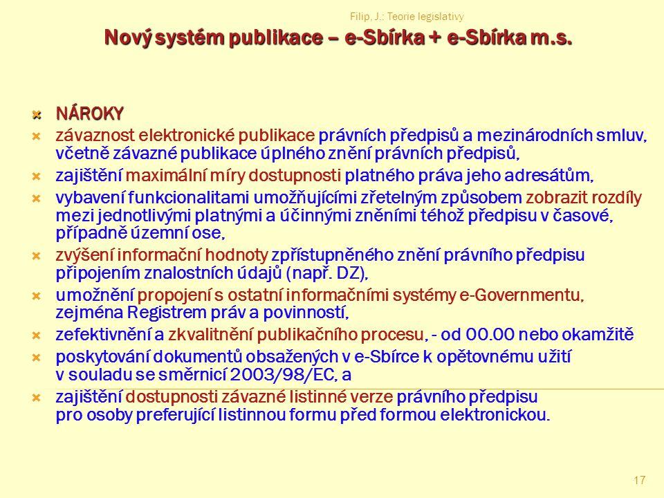 Nový systém publikace – e-Sbírka + e-Sbírka m.s.