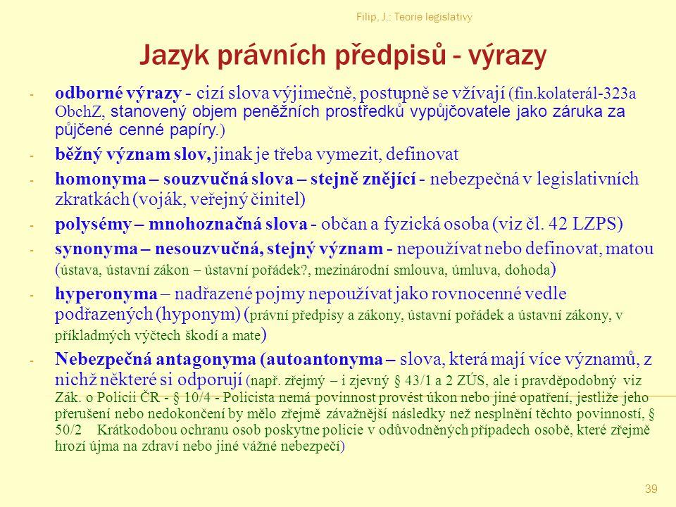 Jazyk právních předpisů - výrazy