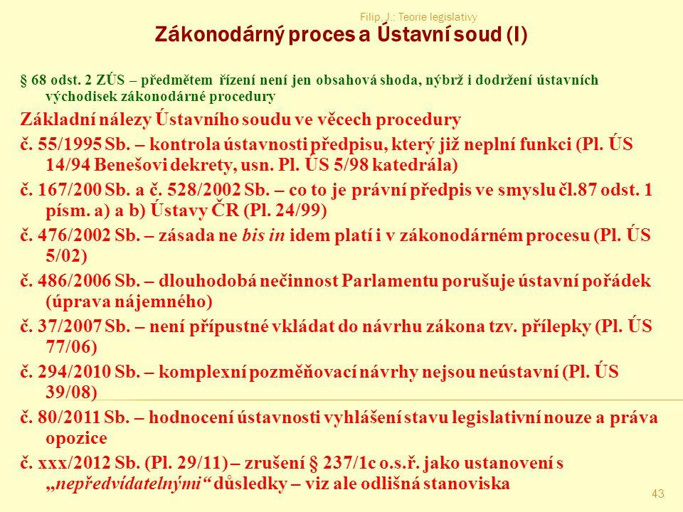 Zákonodárný proces a Ústavní soud (I)