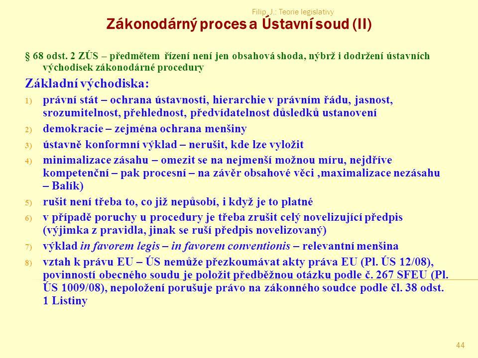 Zákonodárný proces a Ústavní soud (II)