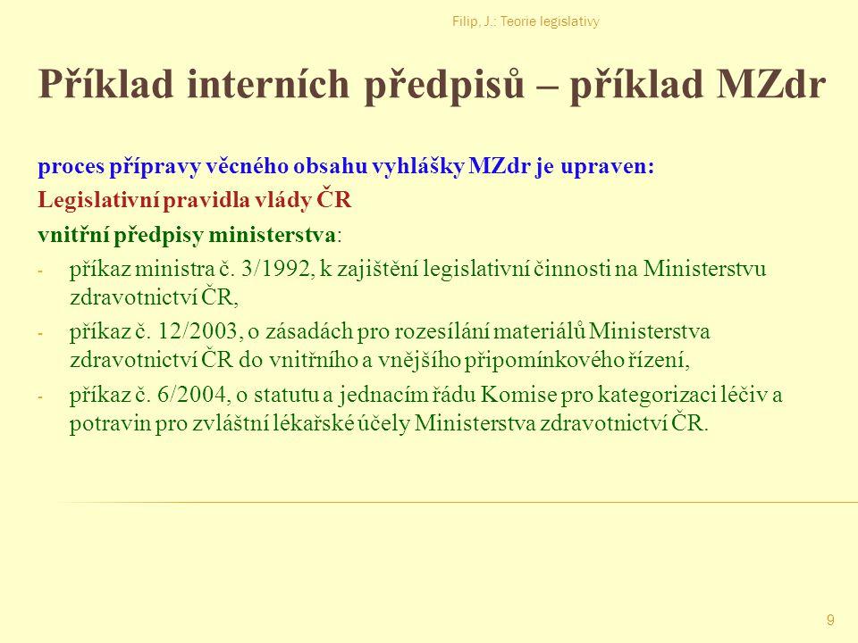 Příklad interních předpisů – příklad MZdr