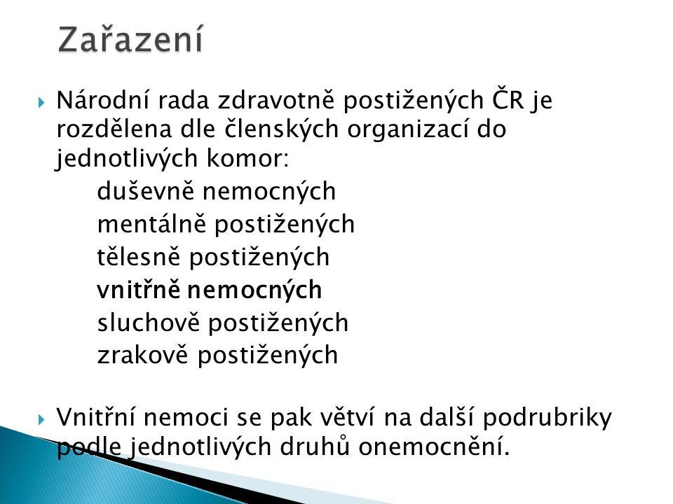 Zařazení Národní rada zdravotně postižených ČR je rozdělena dle členských organizací do jednotlivých komor: