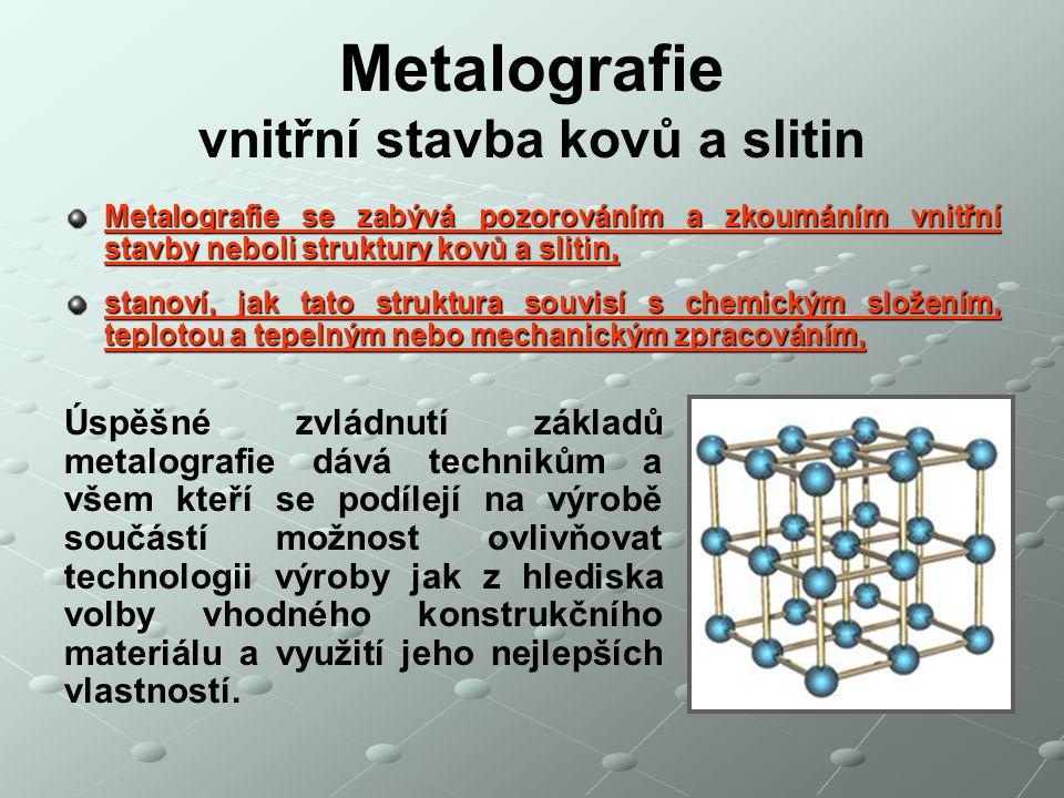 Metalografie vnitřní stavba kovů a slitin
