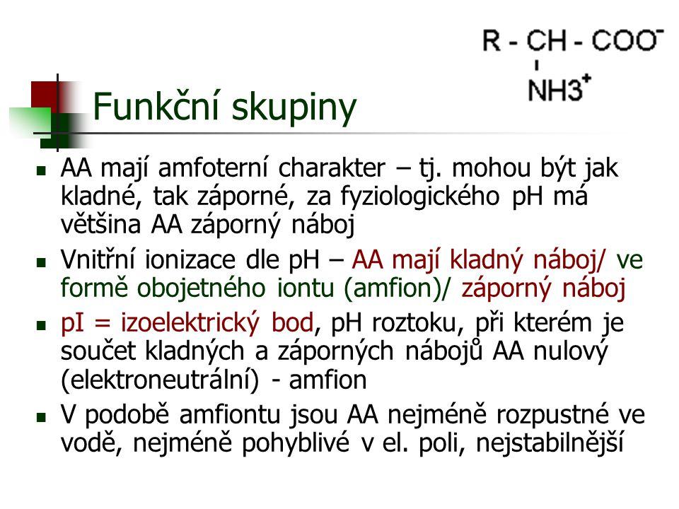 Funkční skupiny AA mají amfoterní charakter – tj. mohou být jak kladné, tak záporné, za fyziologického pH má většina AA záporný náboj.