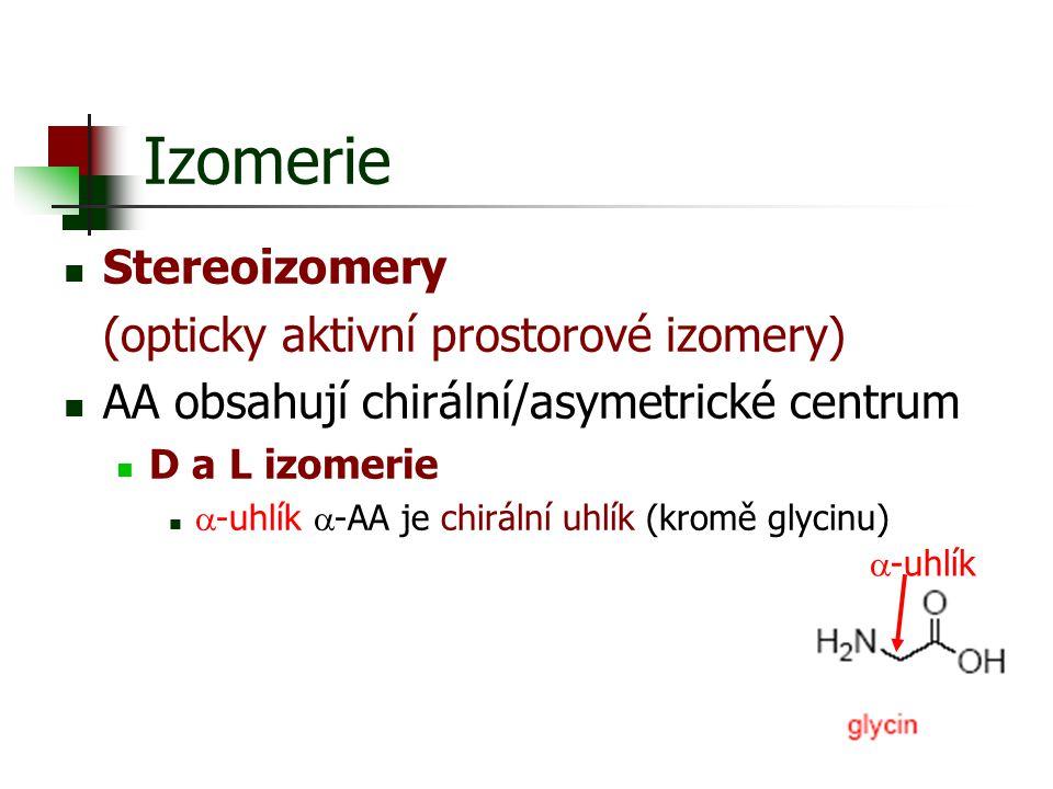 Izomerie Stereoizomery (opticky aktivní prostorové izomery)
