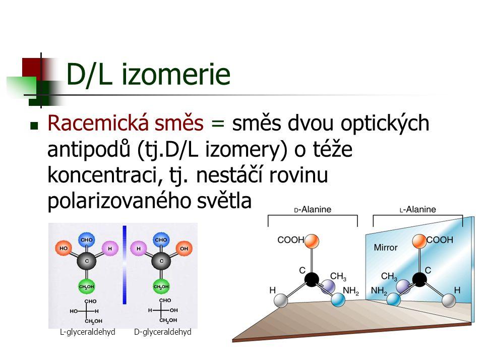 D/L izomerie Racemická směs = směs dvou optických antipodů (tj.D/L izomery) o téže koncentraci, tj. nestáčí rovinu polarizovaného světla.