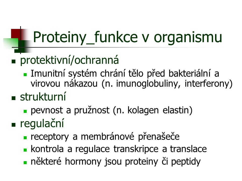 Proteiny_funkce v organismu