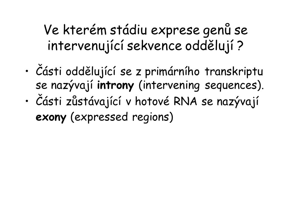 Ve kterém stádiu exprese genů se intervenující sekvence oddělují