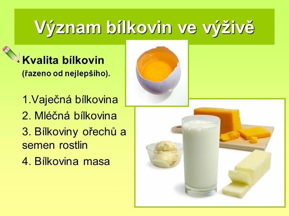 Význam bílkovin ve výživě