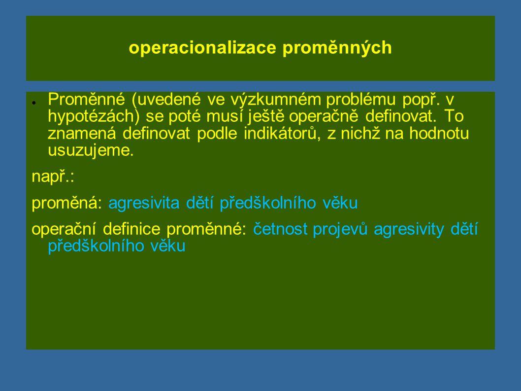 operacionalizace proměnných