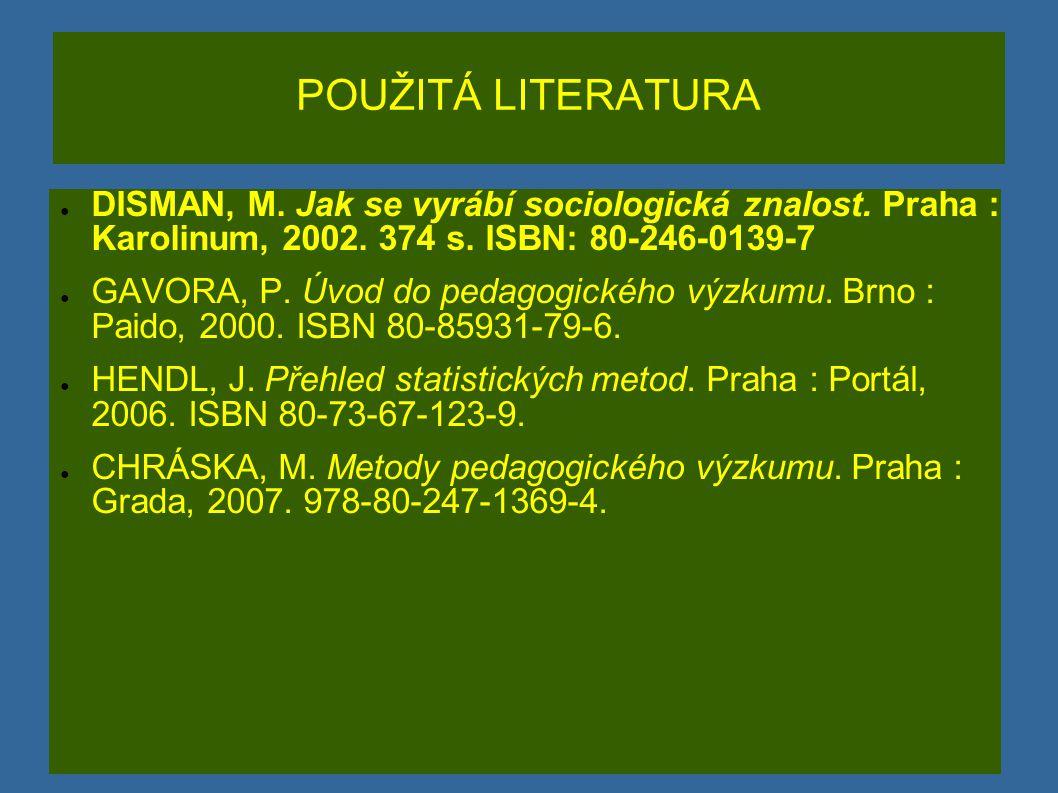 POUŽITÁ LITERATURA DISMAN, M. Jak se vyrábí sociologická znalost. Praha : Karolinum, 2002. 374 s. ISBN: 80-246-0139-7.