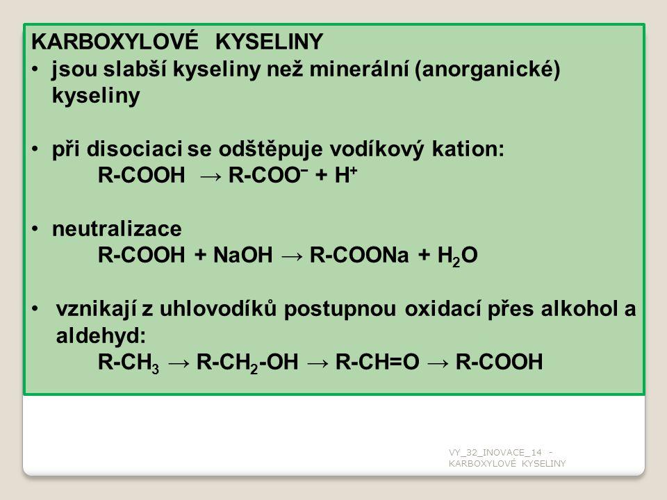 jsou slabší kyseliny než minerální (anorganické) kyseliny