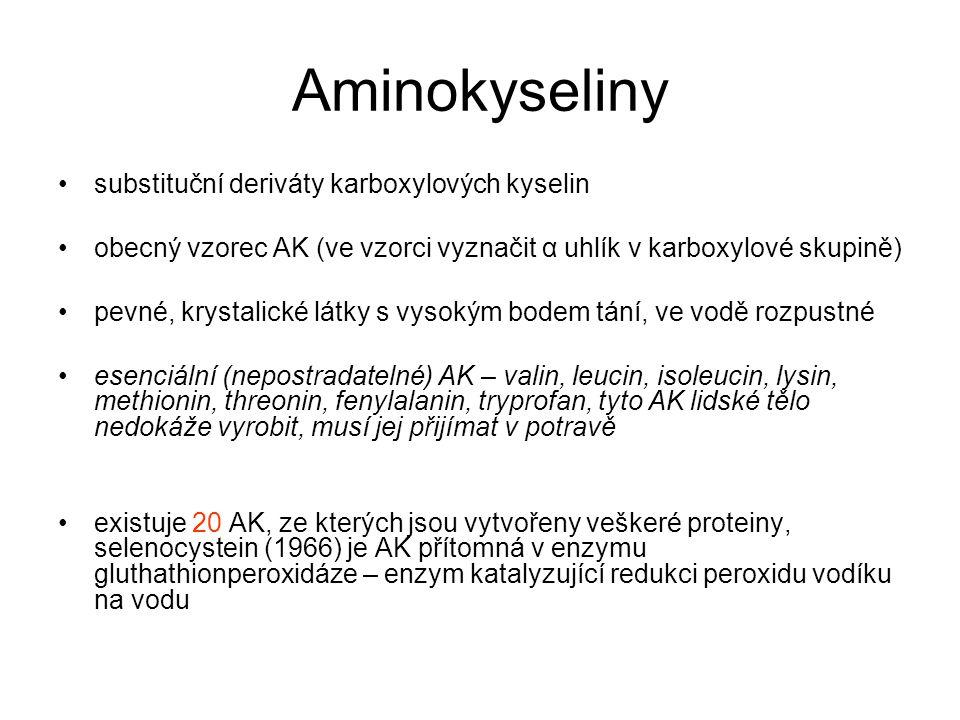 Aminokyseliny substituční deriváty karboxylových kyselin
